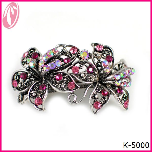 Fashion Rose Color Flower Shape Hairpin,Hair Jewelry,Alloy And Crystal Hair Ornament