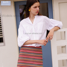autumn half sleeve white lovely simple fresh loose bottom-up latest fashion blouse