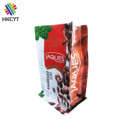 Heat Seal Laminated Aluminum Foil Lined Flat Box Bottom Pouch / Custom Printed Coffee Packaging Bag With Zipper