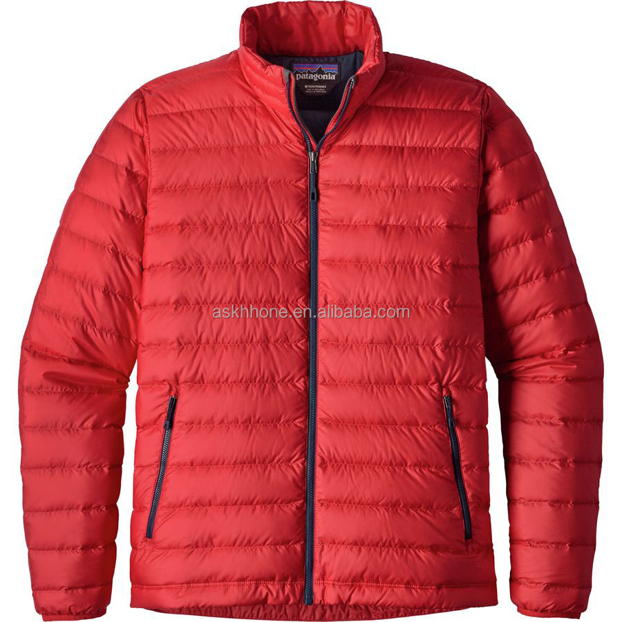 Men's fill down insulation and windproof exterior short duck down jacket for backpacking