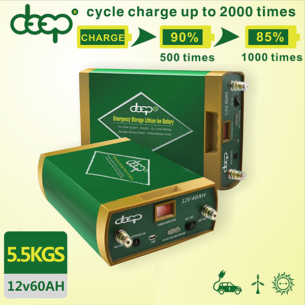 Customized anti-explosive deep cycle 2000 times 12v 45ah 60ah 100ah 180ah lithium dry charged car battery with 50a/h charger