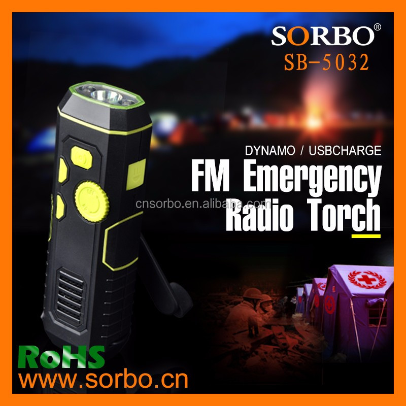 2016 Newest Rechargeable CE Certified Hand Crank AM/FM Radio with Emergency LED Flashlight Torch for Outdoor