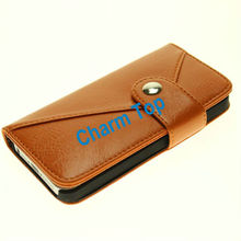 2013 Hot Sale Leather wallet for Iphone 5 case with plug-in card design