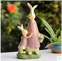 Mama and Baby rabbit wedding souvenirs office desk decor with Daddy and boy