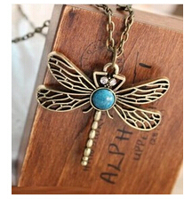 x5  Hot Sale New Fashion Vintage Gold necklace Hollow Dragonfly Pendants Necklaces Jewelry Accessories Wholesales