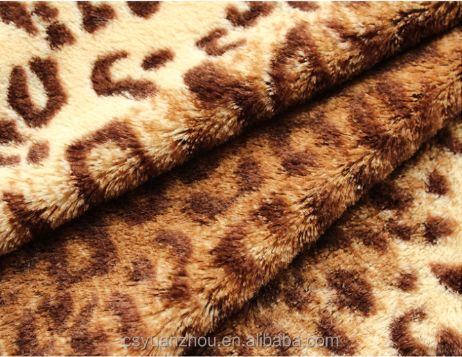 leopard printed stretch long pile fur fabric for sofa upholstery