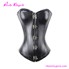 PU leather bustier tops to wear out steel boned corset for busty women