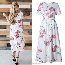 Floral print short sleeve maxi round neck womens lady long frock dress for women