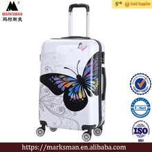 Butterfly pattern luggage case ,3 pieces PC luggage sets,trolley travel suitcase factory