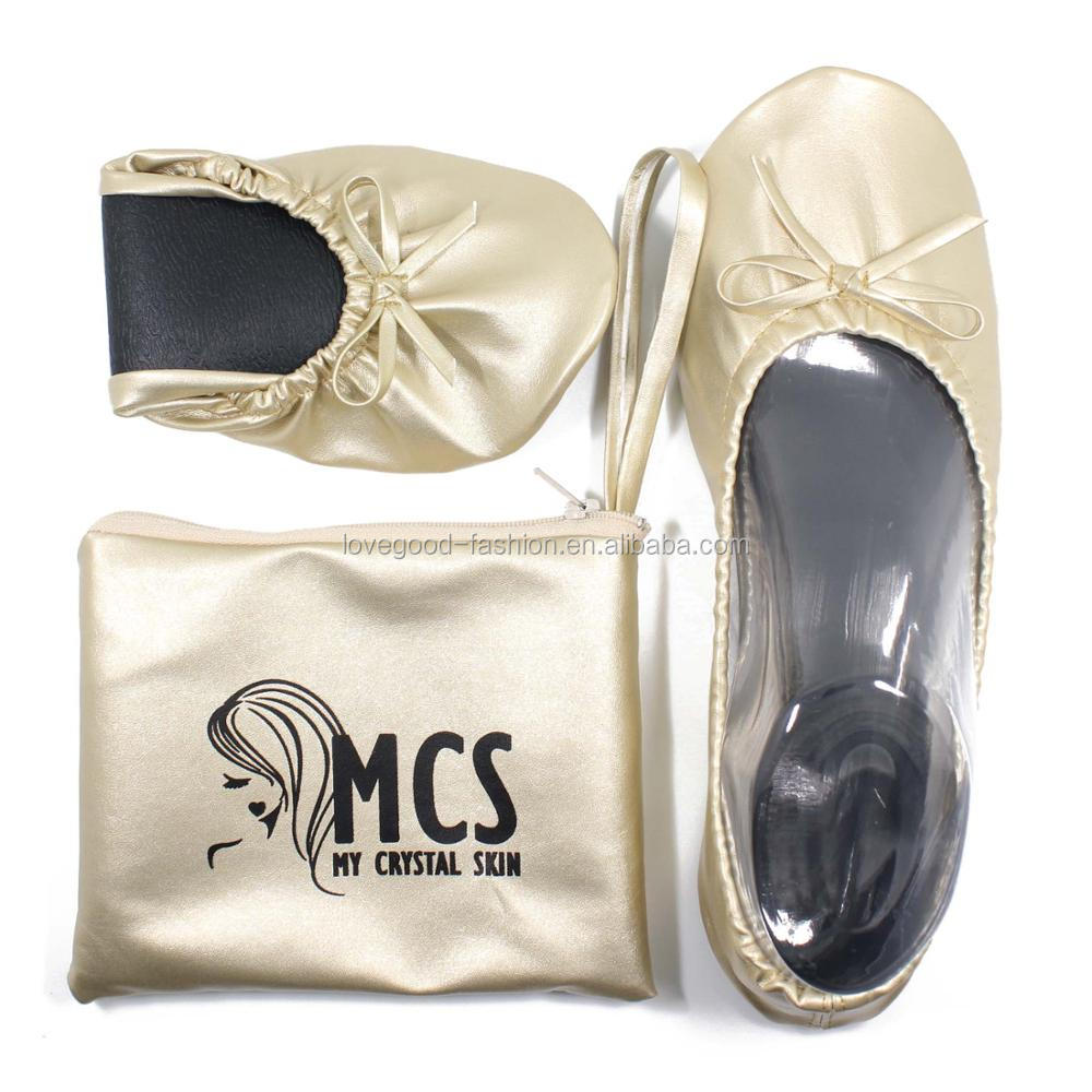 Light Gold Cheap Custom Dancing Folding Ballet Flats with Bag