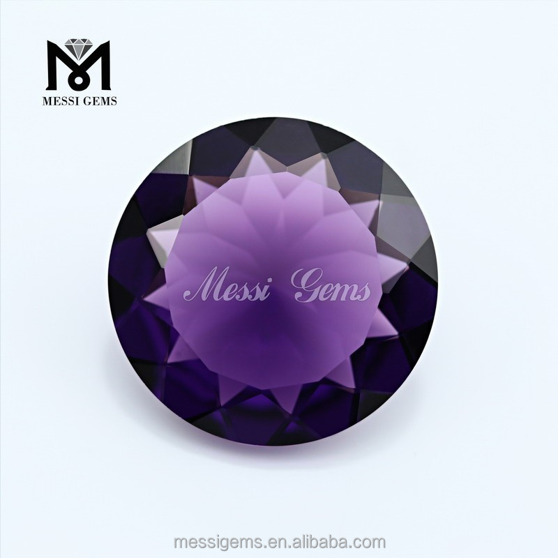 Wholesale High Quality Amethyst Round Glass Gemstone Fashion Stone