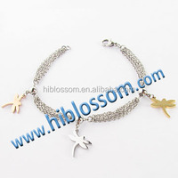 newest style fashion plating dragonfly charm rose gold bracelet