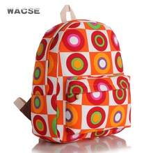 Good quality unisex orange circle printing canvas backpack outdoor