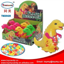 2018 new products cheap toy funny lighting plastic dinosaur toys with fruit dextose candy or jellybean