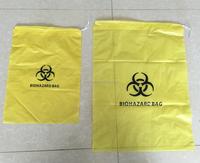 Custom yellow HDPE plastic drawstring biohazard garbage waste bag