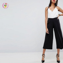 High Impact Wide Leg Ladies Casual Trousers Black High Waist Comfort Workwear Cropped Pants