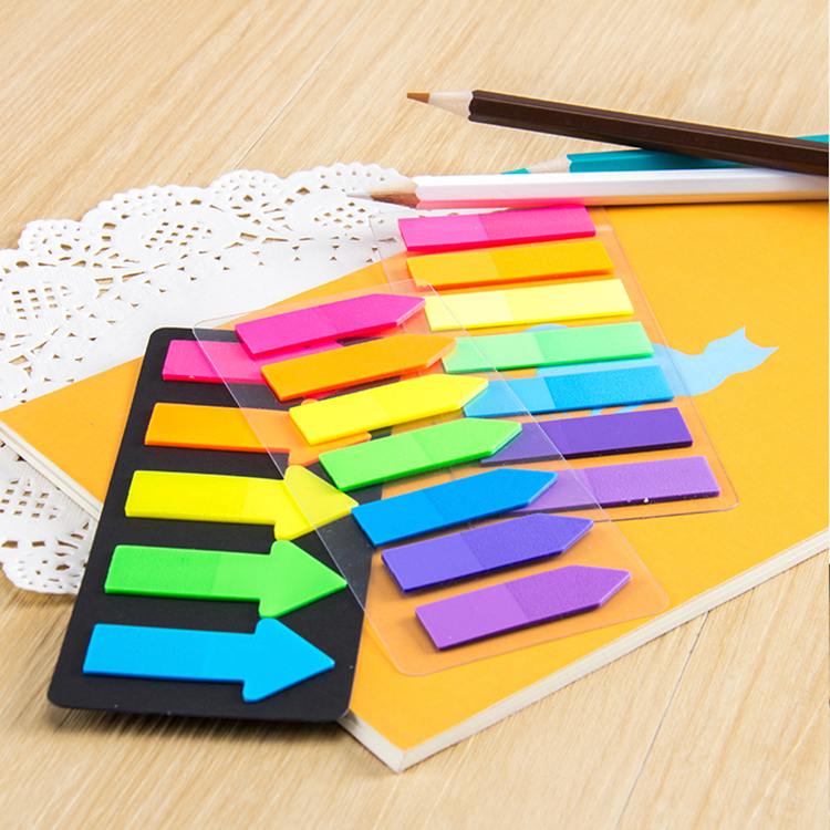 Fluorescent index arrow shaped plastic colorful PET page marker adhesive sticky note Memo Pads