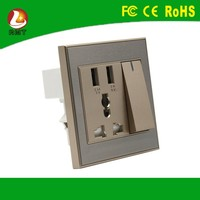 USB current tap electric modular switch 2 double usb ports wall charger socket