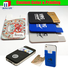 Custom adhesive 3M sticker rubber cell phone silicone credit card holder