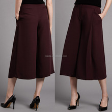 OEM Women Fashion High Waisted Wide Leg Cropped Trousers Lining Palazzo Pants Wholesale Custom Made