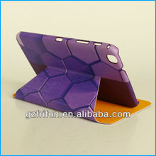 Purple honeycomb print smart 8 inch tablet leather case