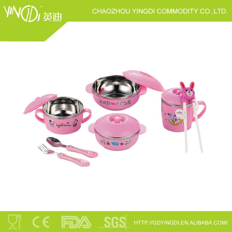 10 times children cutlery Korean 201 stainless steel children style bowl &pink color