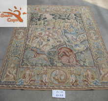Good quality red flower chinese Hand made aubusson rug