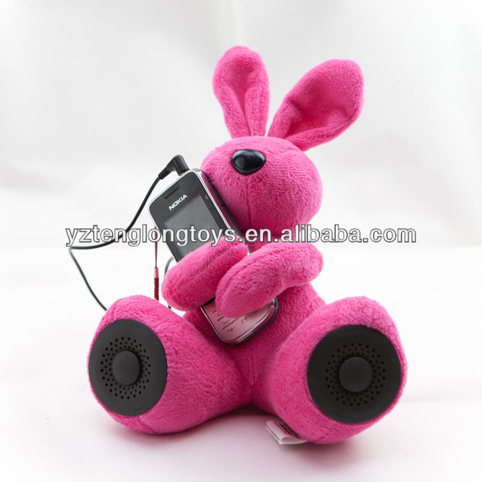 Novelty plush DJ rabbit speaker for MP3 & computer PSP