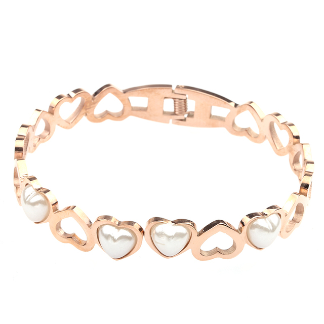 Lady fashionable jewelry Heart shaped white stone metal titanium steel bangle , fashion women stainless steel bracelet