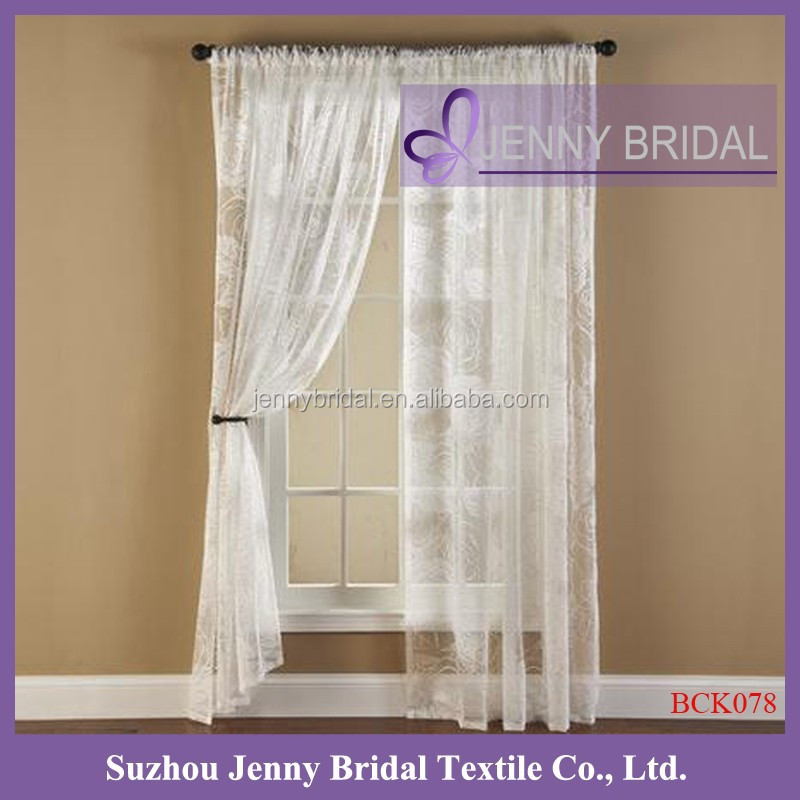 BCK078 white lace curtain for windows