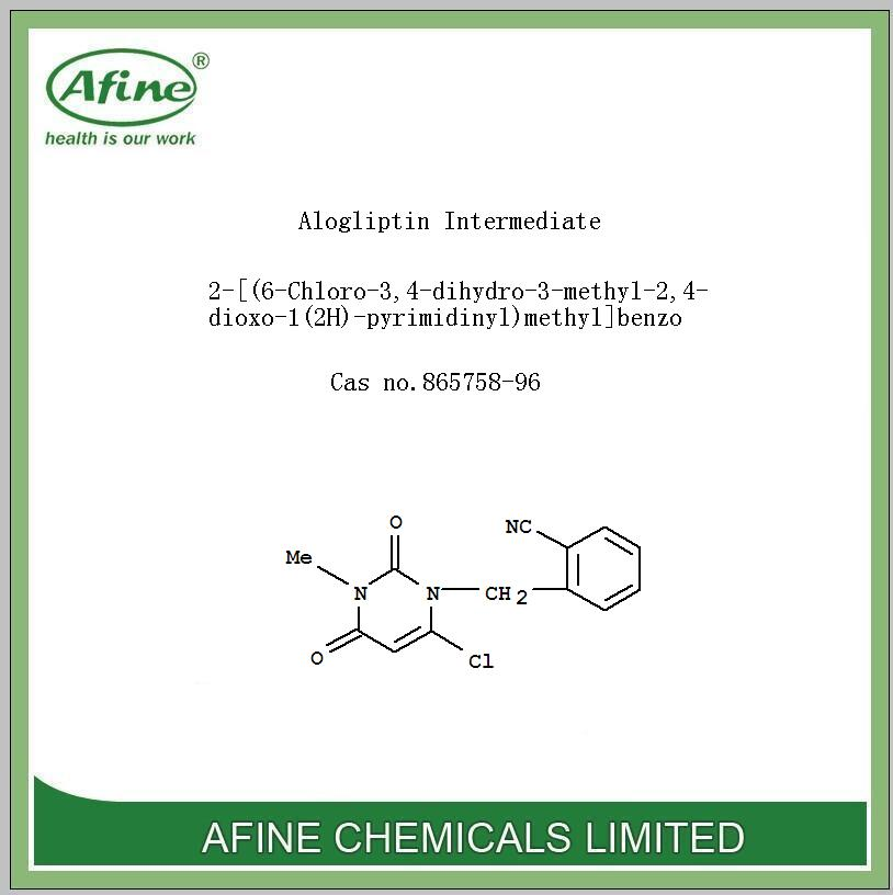 High quality Alogliptin Intermediate 2-[(6-Chloro-3,4-dihydro-3-methyl-2,4-dioxo-1(2H)-pyrimidinyl)methyl]benzo Cas no.865758-96