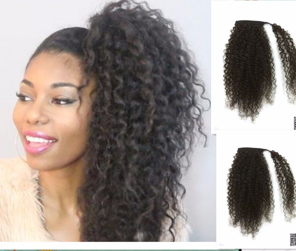Unprocessed Peruvian Human Hair Drawstring Ponytail Kinky Curly