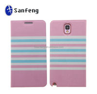 Beautiful pink leather portfolio case for samsung galaxy note 3 n9000 phone;retro book leather case for samsung galaxy note 3