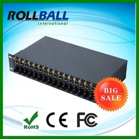 Stand alone 2U height single mode dual fiber 0-2km 16 16 channel media converter