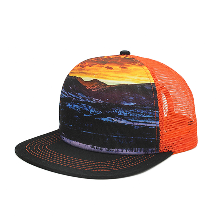 5 panel flat bill custom sublimated printing trucker <strong>hat</strong>