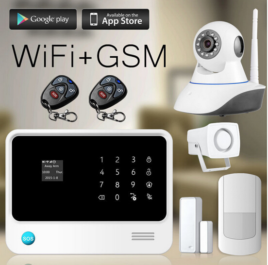 2017 newest smart home alarm WIFI GPRS GSM home alarm system Android / IOS APP home burglar alarm system with IP Camera