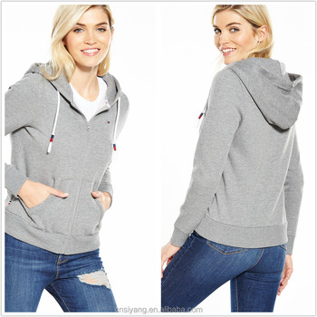 China supplier autumn/winter knit french terry women casual zipper-up hoodie