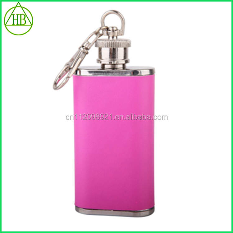 2016 Factory direct supply colourful stainless steel hip flask with key ring hip flask for lady