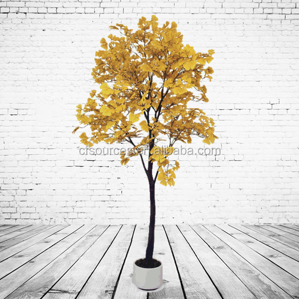 Artificial Golden Leaves Ginkgo Tree For Store Decoration