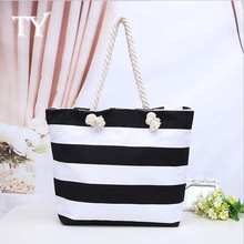DM 410 wholesale 2017 hot selling retro personalized beach stripe bag fashion handbags large canvas tote bags