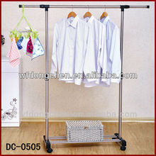 Dongchen DC-0505 single pole clothes rack with wheels that can be adjust left, right, upper and low