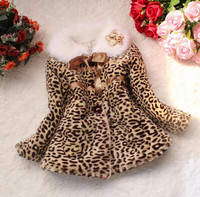 2014 Children Boutique Leopard Baby Clothing Kids Winter Fur Coats