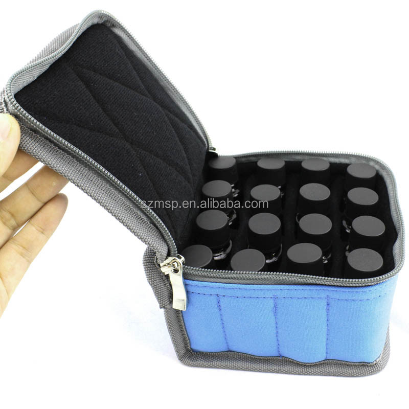 Essential oil carry bag for 16 vials can holds 5ml/10ml/15ml bottles in stock MOQ is 50pcs