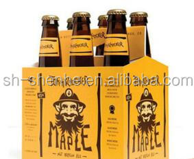 Yellow cardboard corrugated 6 pack bottle beer carriers paper carton box