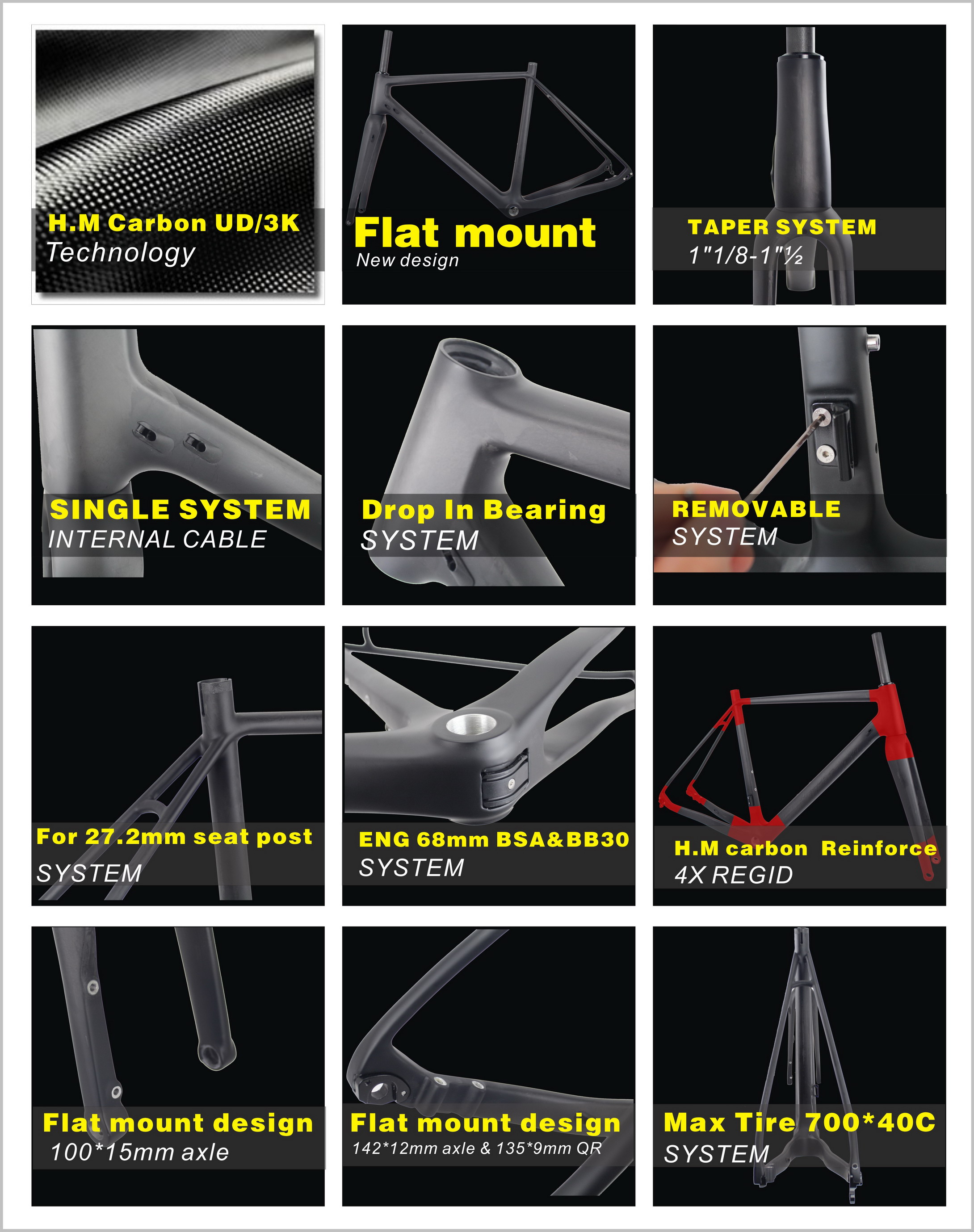 142*12mm rear thru axle carbon cyclocross frame warranty 2 years china bicycle frame cyclocross carbon bicycle frame