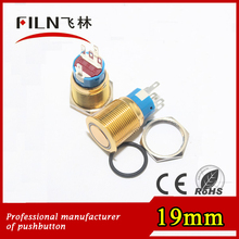 IP67 Plated gold 19mm diameter flat round 6v dc ring blue LED metal push switch