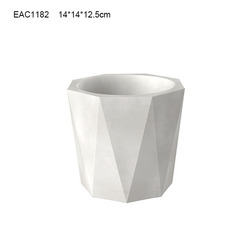 White concrete curved flower pot / pot pedestal produced from direct factory