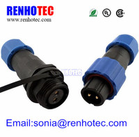 Waterproof Docking connector SP13 type IP68 Cable Connector Male 2 pin plug&Female Plug connector