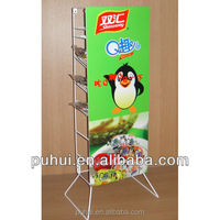 hot selling multi layer steel wire floor snack food display stand with advertisement