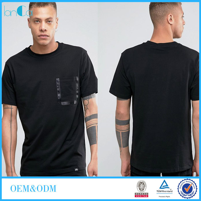 Hot-sale 100% Cotton Men's T-shirt with Stripe Pocket in Chest Men T-shirt with Thumb Hole LC7032-G